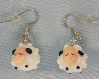 Sheep Earrings - White Glass Sheep - White Resin Sheep - Black Resin or Ceramic Sheep - Glow in Dark Glass Sheep-White with Black Face Sheep