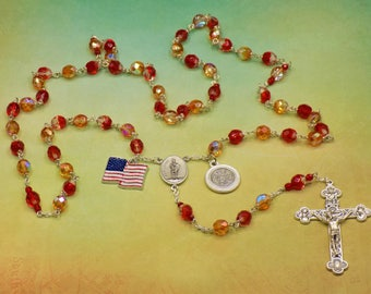 Fireman Rosary - Czech Red, Orange, Amber, Clear Crystal Beads - Italian Crucifix - St Florian Center - US Flag Charm - Firefighter Prayer