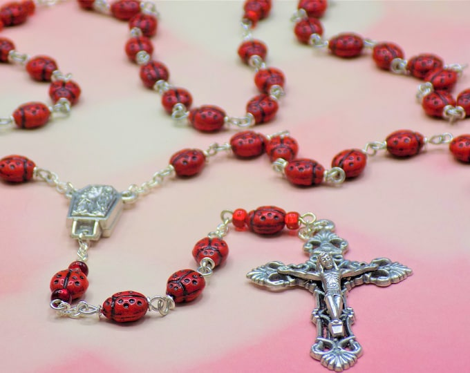 Ladybug Rosary - Czech Opaque Red Ladybug Glass Beads - Center Contains Water from Lourdes France - Italian Silver Filigree Crucifix