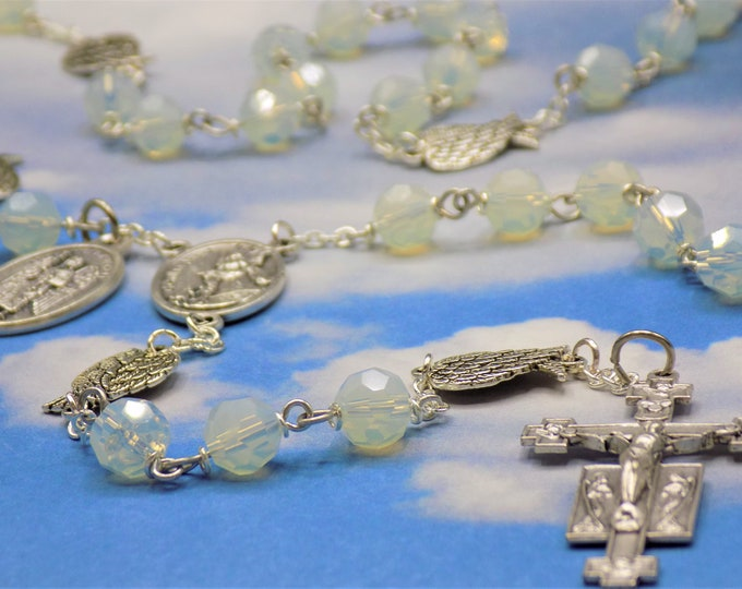 Guardian & Archangel Rosary - Sea Opal Faceted Crystal Beads - Silver Angel Wings - Italian Guardian Angel Center - Italian Angels Crucifix