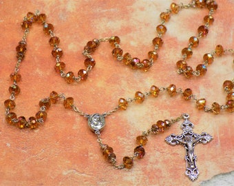 Swarovski Austrian Copper Crystal Rosary - Swarovski Copper 8mm Beads - Mary & Child Center with Soil from Jerusalem - Filigree Crucifix