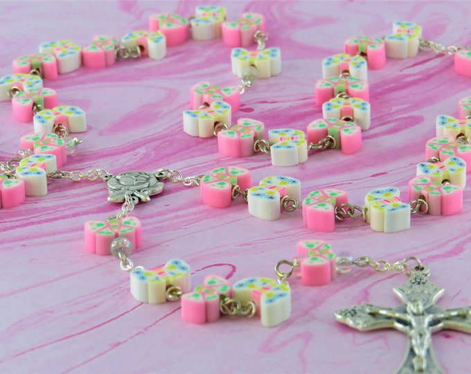 Pink and White Butterfly Rosary - Colorful Pink and White Butterfly Polymer Beads - Italian Rose Center - Italian Grapes & Vine Crucifix