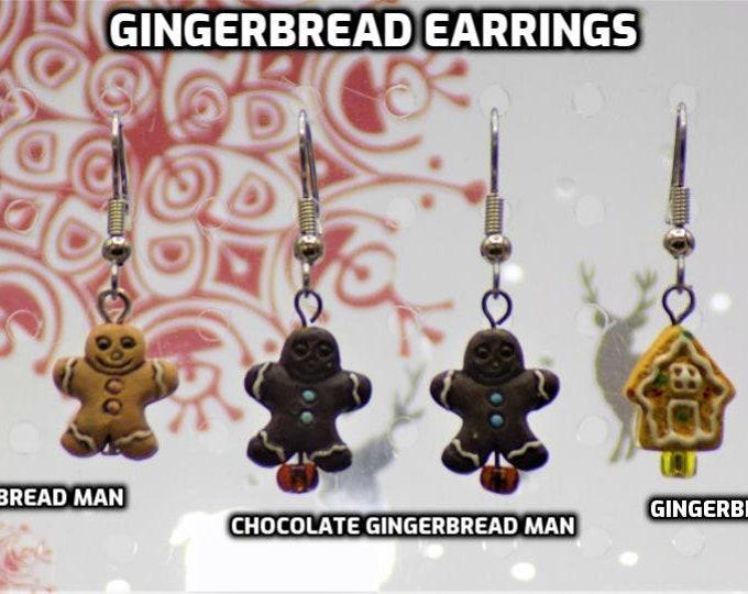 Gingerbread Earrings - Light Gingerbread Man - Dark Gingerbread Man - Gingerbread House - 3 Styles to Choose From
