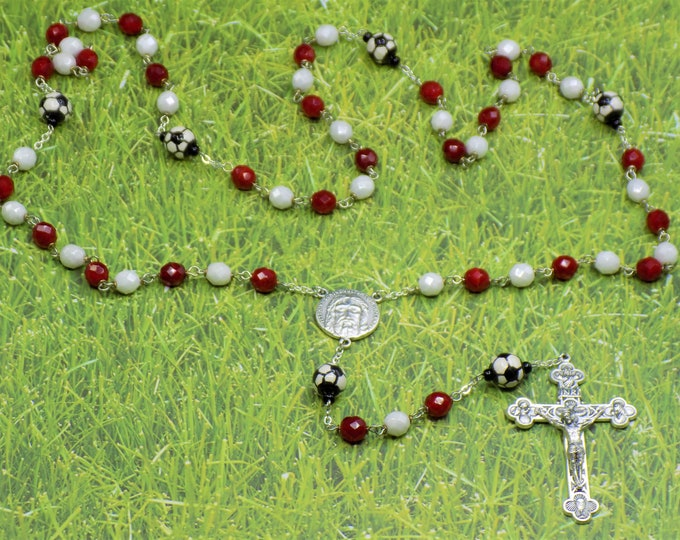 Red & White Soccer Rosary - Czech Red and White Glass Beads - Ceramic Soccer Balls - Italian Holy Face Center - Italian Eucharistic Crucifix