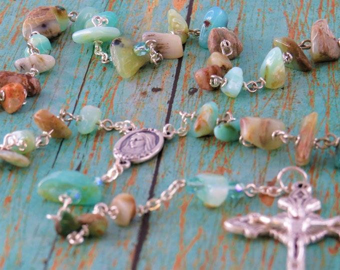 Peruvian Blue Opal Rosary - Semi Precious Blue Peruvian Opal Nugget Beads -Medugorje with Earth Center - Italian Silver Sunburst Crucifix