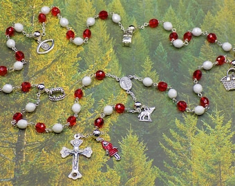 Little Red Riding Hood Rosary - Czech Red and White Glass Beads - Little Red Riding Hood Charms - Italian Fatima Center - Italian Crucifix