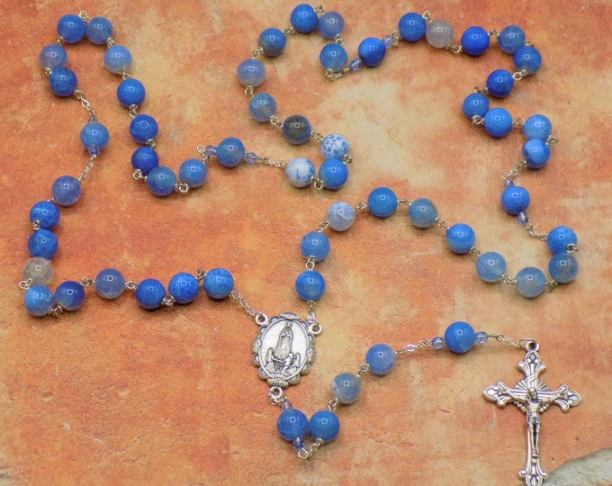 Blue Agate Rosary - Semi Precious Blue Fire Crackle Agate Beads - Czech Beads - Italian Our Lady of Fatima Center - Italian Flare Crucifix