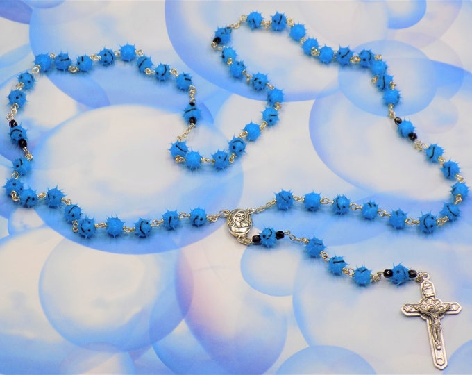 """Blue Emoticon """"Smiley Face"""" Rosary - Blue Soft Rubber Emoticon Beads - Mary & Child Center with Jerusalem Earth - Italian Angels Crucifix"""