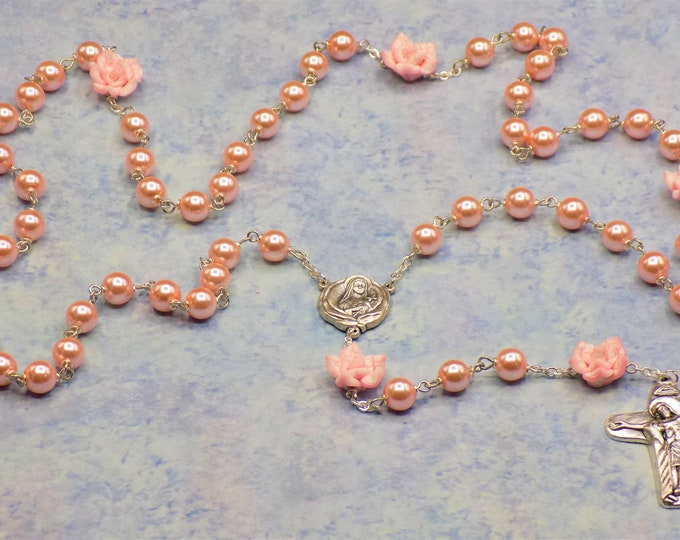 Pearl & Flower Rosaries - Pink or White Glass Pearl Beads - Polymer Clay Flower Beads - Italian St Therese Centers - Italian Mary Crucifixes