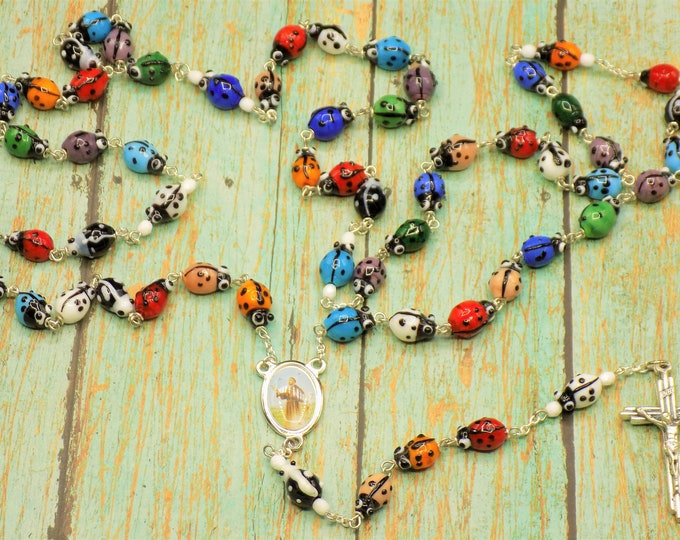 Lamp Work Ladybug Rosary - Lamp Work Multi Color Ladybug Beads - Czech Father Accent Beads - Italian St. Frances Center - Italian Crucifix