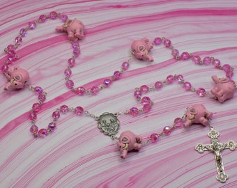 Pink Elephant Rosary - Czech AB Pink Crystal 8mm Beads - Italian Silver Holy Family Center - Italian Silver Eucharistic Crucifix