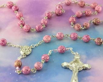 Purple Luster Glass Rosary - Purple Luster Glass Beads - Czech Purple Beads - Mary Center with Jerusalem Earth - St Benedict Enamel Crucifix