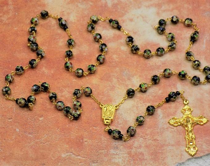 Black Cloisonné Rosary - Black 8mm Cloisonné Metal Beads - Czech Black Crystal Beads - Italian Fatima Water Center -Italian Filigree Crucifx
