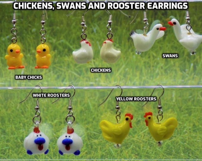 Baby Chicks, Chickens, Swans & Roosters 3D Earrings