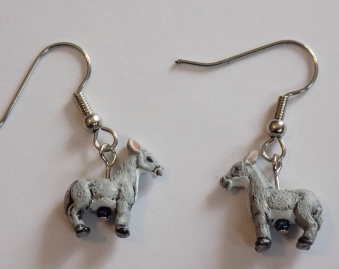 Donkey and Horse Earrings - Donkeys - Black, Pink, Green, Tan, Blue, Yellow, Purple and Brown Horses - Lamp Glass Red,Green, & Yellow Horses