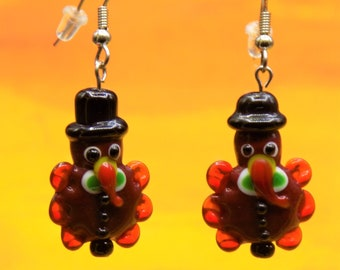 Turkey Earrings - Handmade Lampwork Glass Turkey Earrings -  Handpainted Resin Turkey Earrings - Fun Earrings for Fall and Thanksgiving