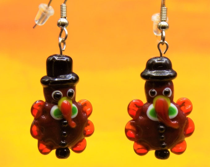 Turkey Earrings - Handmade Lampwork Glass Turkey Earrings -  Handpainted Resin Turkey Earrings-Fun Earrings for Fall & Thanksgiving