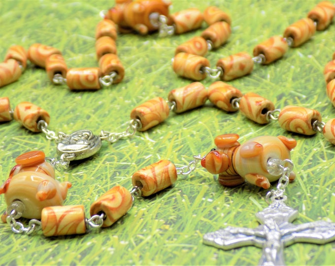 Brown Dog Rosary - Handmade Lamp Glass Brown Dog Beads - Brown Wood Round Beads - Mary and Child Center - Silver Grapes and Vine Crucifix