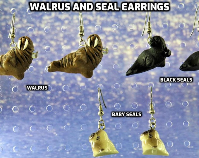 Walrus and Seal Earrings - Walrus - Black Seals - Baby Seals - 3 Styles to Choose From