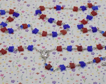Butterfly Rosaries - Czech Glass Red and Blue or Brown Butterfly Beads -Mary & Child Center with Soil from Jerusalem - Ital Angels Crucifix