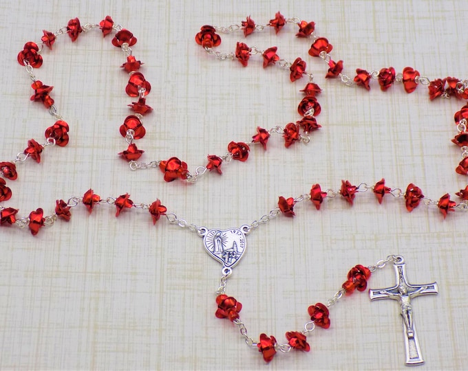 Red Rose Flower Rosary - Red Metal Rose Flower Beads - Czech Glass Pearl Beads - Our Lady of Fatima 1ooth Anniversary Crucifix and Center
