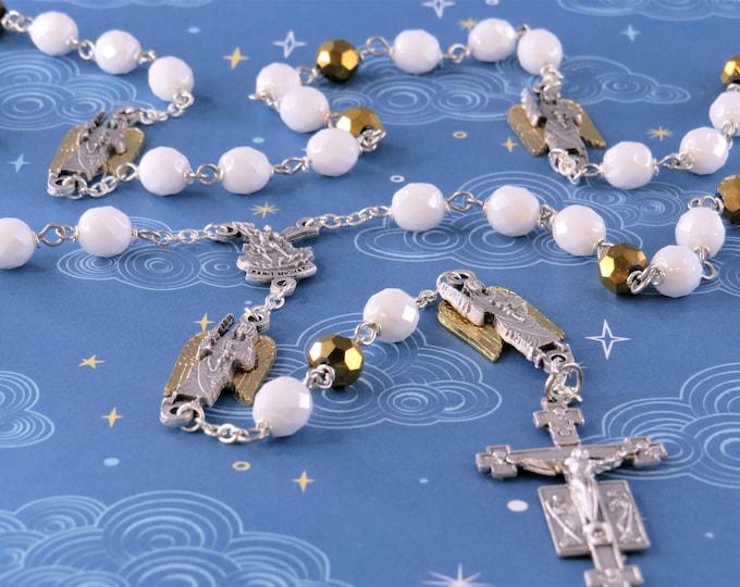 St Michael Rosary - Czech White & Gold 8mm Beads - Italian St Michael Center - Italian St Michael Father Beads - Italian Angels Crucifix