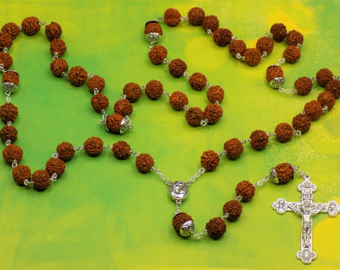 "Rudraksha Rosary - Natural Rudraksha Beads - Mary & Child with Soil from Jerusalem ""Holy Land"" Center - Italian Silver Eucharistic Crucifix"