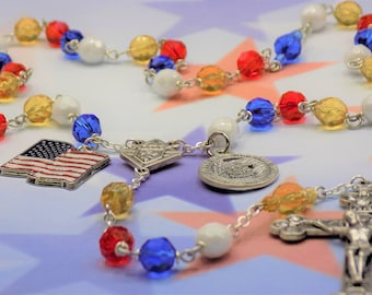 Knights of Columbus Rosary - Czech Gold, Blue, Red & White Beads - Knights of Columbus Logo Center - Proud American Charm - US Flag Charm