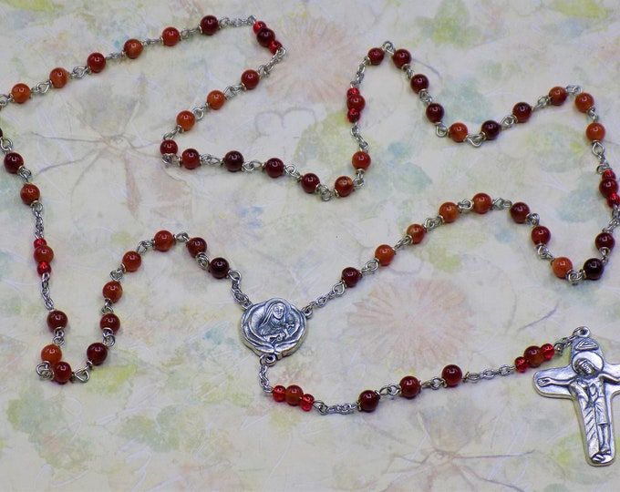 Red Jade Rosary - Semi Precious Red Jade Beads - St Therese Little Flower Earth Relic Center - Italian Silver Sorrowful Mother Crucifix