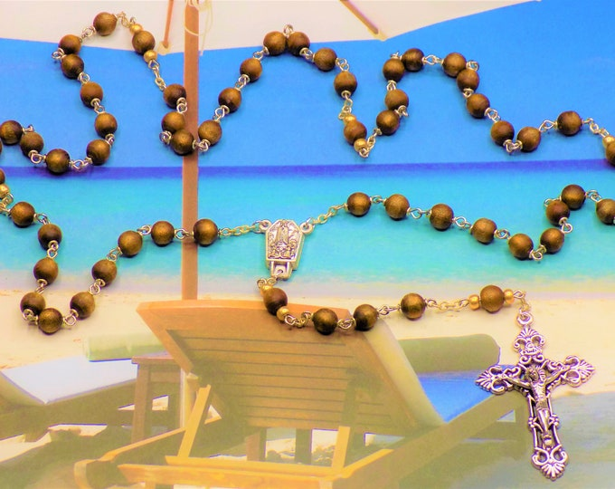 Gold Coral Rosary - Natural Gold Coral Beads - Czech Gold Accent Father Bead - Italian Fatima with Water Center - Italian Filigree Crucifix