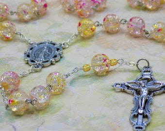 Clear, Yellow & Pink Cracked Crystal Rosary - Clear, Yellow and Pink Cracked Crystal Beads - Italian Mary Center - Italian Fancy Crucifix