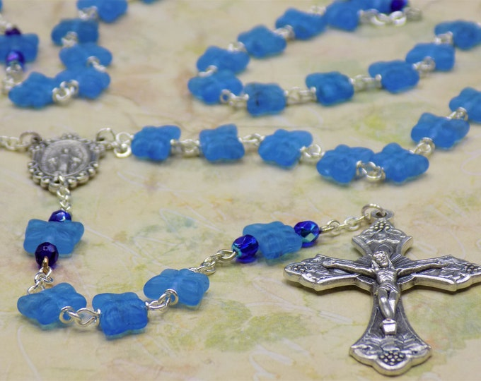 Medium Blue Butterfly Rosary - Czech Medium Blue Crystal Butterfly Beads - Italian Miraculous Center - Italian Grapes and Vine Crucifix
