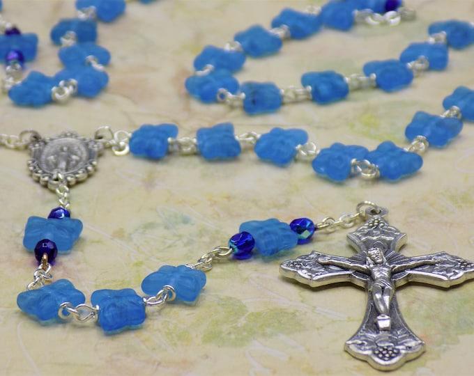 Medium Blue Butterfly Rosary - Czech Medium Blue Crystal Butterfly Beads - Italian Miraculous Center - Italian Grapes and Vine Crucifix
