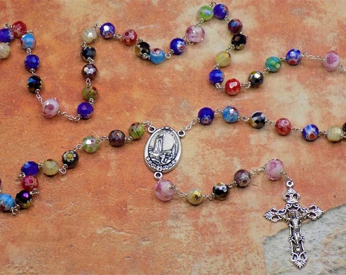 Millefiori Multi-Colored Rosary - Millefiori Faceted Glass Beads - Lamp Glass Father Beads - Italian Fatima Earth Center - Italian Crucifix