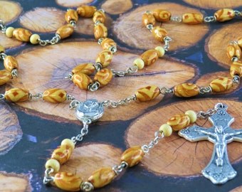 Natural Wood Rosary - Light Wood Oval Beads - Mary and Child Center with Earth from Jerusalem - Italian Silver Grapes and Vine Crucifix