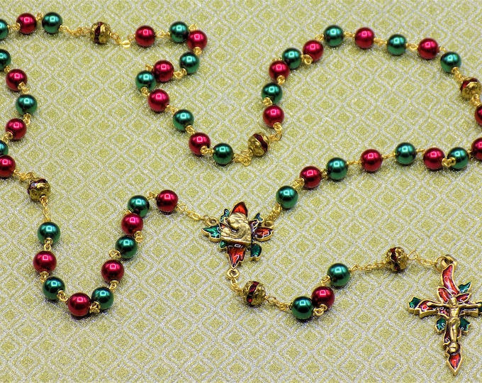Christmas Poinsettia Rosary-Red and Green Glass Pearl Beads - Red Rhinestone Beads-Gold Plated Pewter Christmas Poinsettia Center & Crucifix