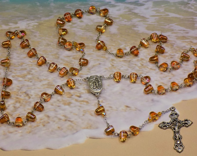 Czech Crystal Apricot Coated Gum Drop Rosary - Czech Gum Drop Crystal Apricot Beads -Italian Lourdes Water Center -Italian Filigree Crucifix