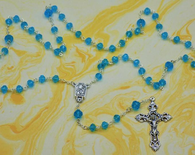 Czech Aqua Rosebud Rosary -  Czech Aqua Rosebud Crystal 6 & 8mm Beads - Water from Lourdes Center - Italian Silver Filigree Crucifix