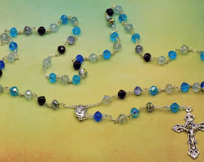 Czech Blue Rose Garden Rosebud Rosary - Czech Crystal Rosebud Various Blue Beads -Mary Center with Earth from Jerusalem - Filigree Crucifix