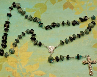 Natural Buri Seed Rosary- Natural Buri Seed Teal & Green Beads - Our Lady of Fatima, Portugal Center -  Italian Silver Hearts Crucifix