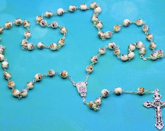 Butteryfly Rosaries - Porcelain Beads Hand Painted with Colorful Butterflies - Water from Fatima, Portugal Center -Italian Filigree Crucifix