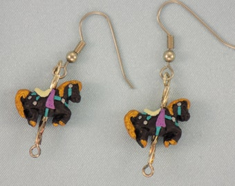 Carousel Horse Earrings - Available in: Black - Pink - Green - Tan - Blue - Yellow or Purple 3D Handpainted Peru Ceramic Charms