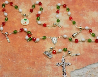 Rosary of Italy - Czech Green,White & Red Glass Beads - Round Pewter Father Beads - Italian Charms -Immaculate Mary Center -Italian Crucifix