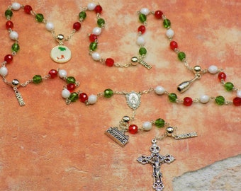 Rosary of Italy - Czech Green,White & Red Glass Beads - Round Pewter Father Beads - Italy Charms -Immaculate Mary Center -Italian Crucifix