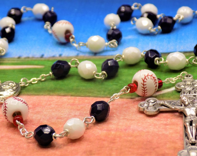 Baseball Rosary - Czech Navy Blue & White  Glass Beads - Peru Ceramic Baseballs - Mary and Child Jerusalem Center -Ital Eucharistic Crucifix