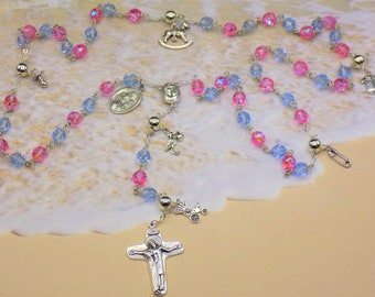 Mother's Rosary - Czech Pink and Turq Blue Beads - Silver Baby Charms - Mary & Child Center with Earth from Jerusalem - Italian Crucifix