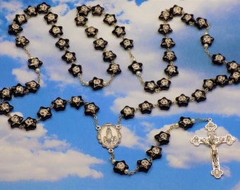 Porcelain Star With Sun Rosary -  Porcelain Star With Sun Beads - Czech Pearl Beads - Italian Fatima Center - Italian Eucharistic Crucifix