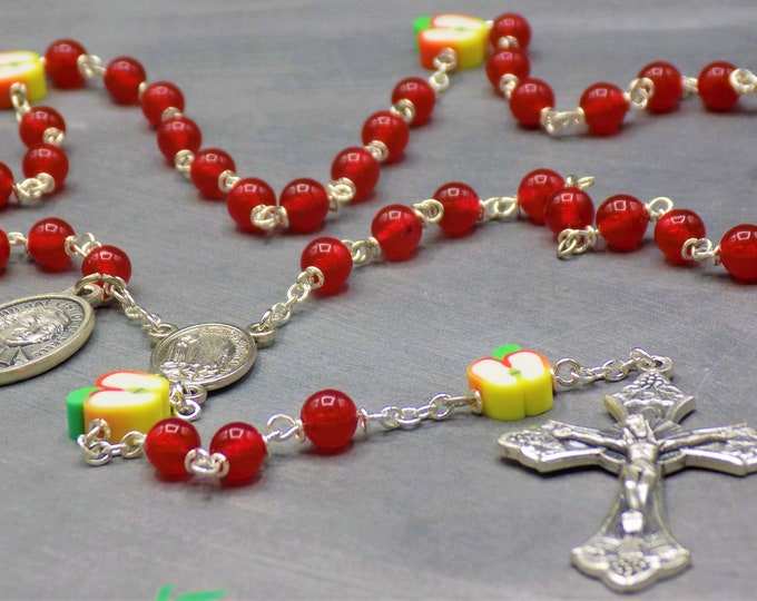 Teacher Rosary - Red Candy Jade Gemstone Beads - Polymer Apple Beads - Fatima Center - Italian Crucifix - St John Baptist De La Salle Medal