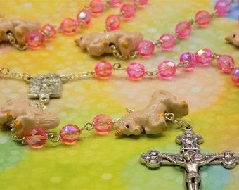 Unicorn & Czech Pink AB Crystal Rosary - Czech Pink AB Crystal Beads -Ceramic Unicorn Father Beads -Holy Family Center -Eucharistic Crucifix