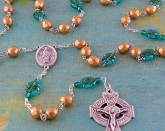 Shamrock Irish Rosary - Czech Gold Crystal Beads - Czech Teal Shamrock Glass Beads - St Patrick & St Bridget Center -Italian Celtic Crucifix